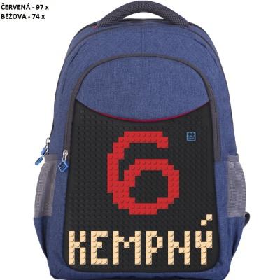"""Školní kreativní pixelový batoh MS HOKEJ """"Kempný"""" modrý PXB-05-E24"""