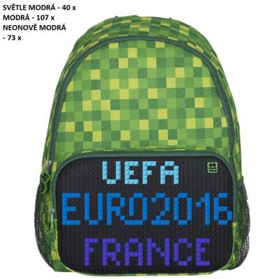 Volnočasový kreativní pixelový batoh UEFA EURO 2016 FRANCE zeleno černý PXB-02-D24