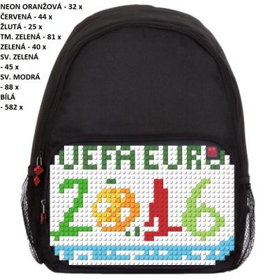 Volnočasový kreativní pixelový batoh UEFA EURO 2016 FRANCE černý PXB-01-L24