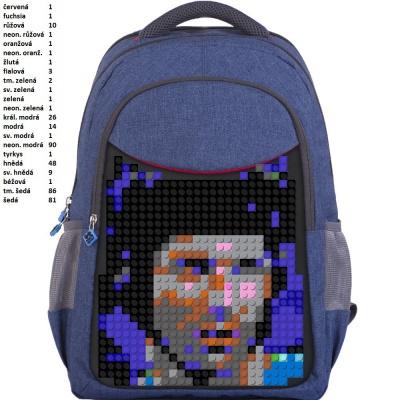 Školní kreativní pixelový batoh ČECH modrý PXB-05-E24