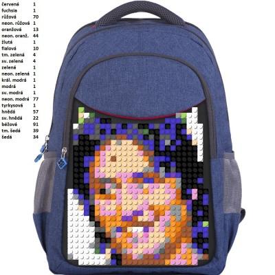 Školní kreativní pixelový batoh ROSICKÝ modrý PXB-05-E24