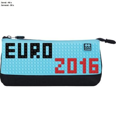 Kreativní pixelový školní penál EURO 2016 tyrkysová/černá PXA-01-L09