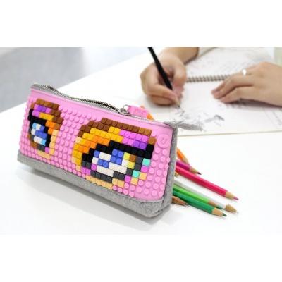 Kreativní pixelový školní penál oranžový B002