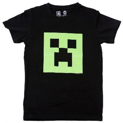 Originální dětské triko Minecraft - hlava Creepera svítíci ve tmě