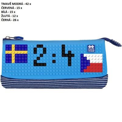 Kreativní pixelový školní penál MS HOKEJ Švédsko : Česko královská modrá/modrá PXA-02-E10