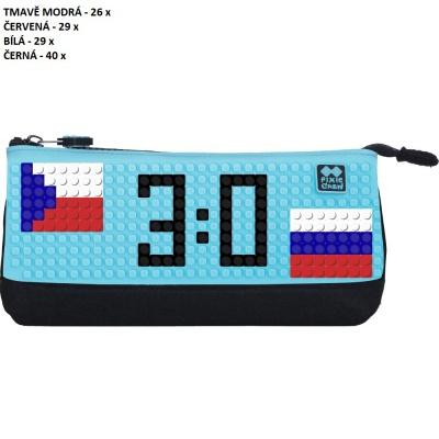Kreativní pixelový školní penál MS HOKEJ Česko : Rusko tyrkysová/černá PXA-01-L09