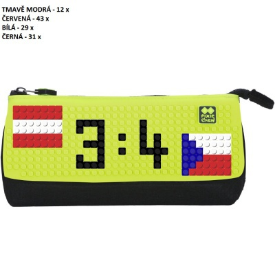 Kreativní pixelový školní penál MS HOKEJ Lotyšsko : Česko neonově zelená/černá PXA-01-L05