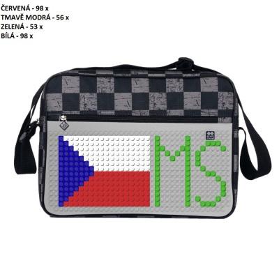Kreativní pixelová taška přes rameno MS HOKEJ šedá kostka PXB-04-K22