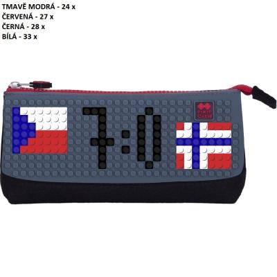 Kreativní pixelový školní penál MS HOKEJ Česko : Norsko šedá/černá PXA-01-L23