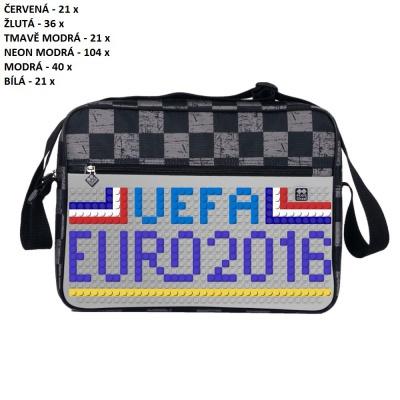 Kreativní pixelová taška přes rameno UEFA EURO 2016 FRANCE šedá kostka PXB-04-K22