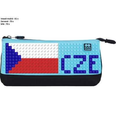 Kreativní pixelový školní penál EURO 2016 CZE tyrkysová/černá PXA-01-L09