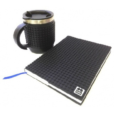 Kreativní SET pixelový diář s obalem černý + pixelový termohrnek černý