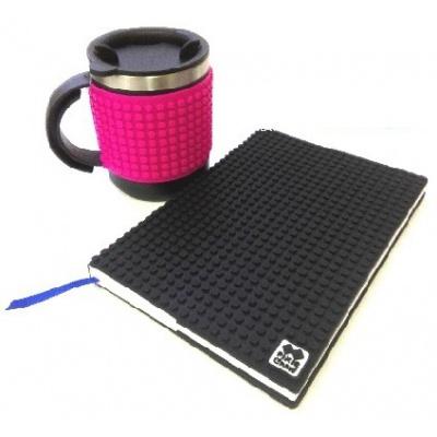 Kreativní SET pixelový diář s obalem černý + pixelový termohrnek fuchsiový