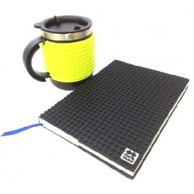 Kreatívny SET pixelový diár s obalom čierny + pixelový termohrnček neon zelený