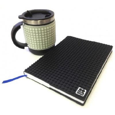Kreativní SET pixelový diář s obalem černý + pixelový termohrnek fosforový šedý