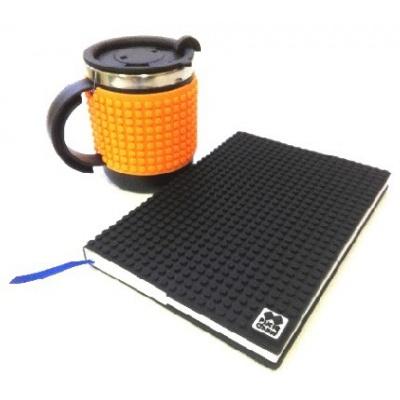 Kreativní SET pixelový diář s obalem černý + pixelový termohrnek neon oranžový