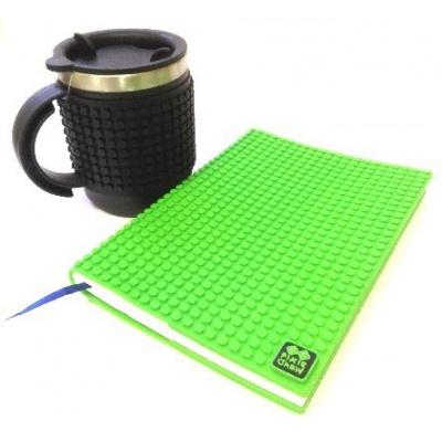 Kreativní SET pixelový diář s obalem zelený + pixelový termohrnek černý