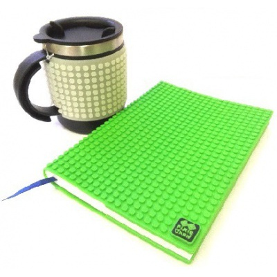 Kreativní SET pixelový diář s obalem zelený + pixelový termohrnek fosforový šedý