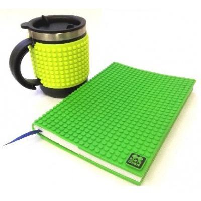 Kreativní SET pixelový diář s obalem zelený + pixelový termohrnek neon zelený