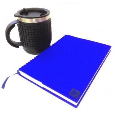 Kreativní SET pixelový diář s obalem modrý + pixelový termohrnek černý
