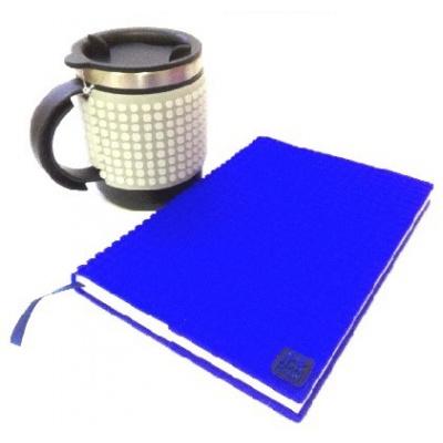 Kreativní SET pixelový diář s obalem modrý + pixelový termohrnek fosforový šedý