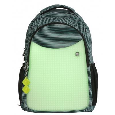Školní kreativní pixelový batoh světle modrá/šedá/svítící ve tmě  PXB-02-16-02