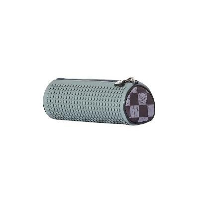 Kreativní pixelový školní penál kulatý šedá kostka PXA-06-K23
