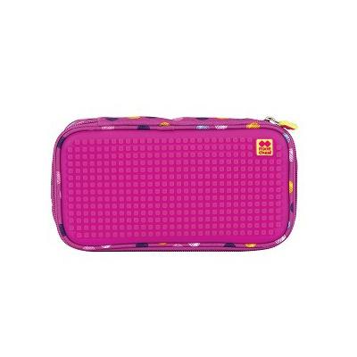 Kreativní pixelový studentský penál barevné puntíky/fuchsiová PXA-12-G15