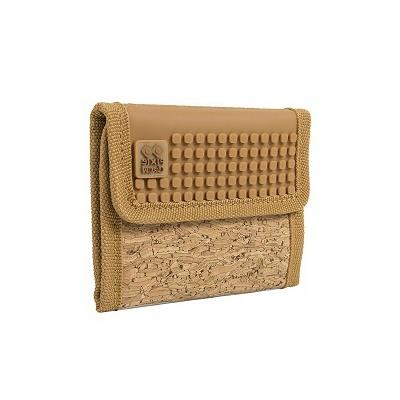 Kreatívna pixelová peňaženka PIXIE CREW hnedá/korok PXA-10-CORK