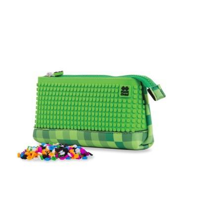 Kreativní pixelový školní penál zelená/zelená PXA-02-D07
