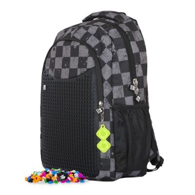 Školní kreativní pixelový batoh šedá kostka/šedá PXB-16-07