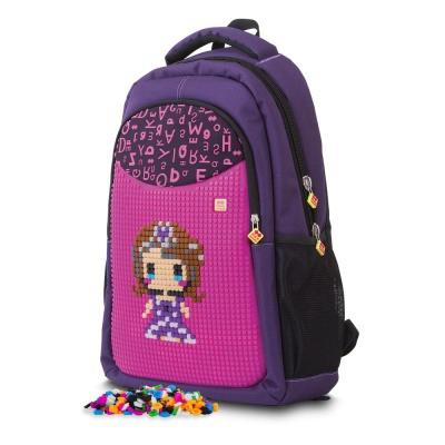 Školní kreativní pixelový batoh fialová abeceda PXB-16