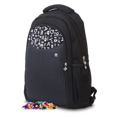 Školní kreativní pixelový batoh černá abeceda PXB-16