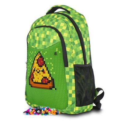 Školní kreativní pixelový batoh s penálem zelená kostka PXB-16-08