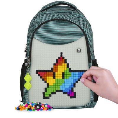 Školní kreativní pixelový batoh s penálem světle modrá/šedá svítící ve tmě PXB-16-02