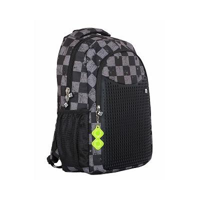 eb39a13195b ... Školní kreativní pixelový batoh s penálem šedá kostka šedá PXB-16-07 ...