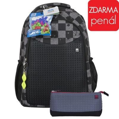 Školní kreativní pixelový batoh s penálem šedá kostka/šedá PXB-16-07