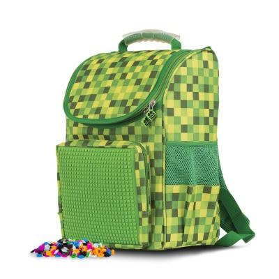 Školní aktovka PXB-22-D07 zelená s kostkami