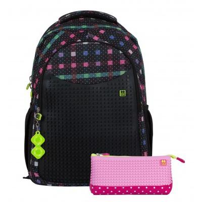 Školní kreativní pixelový batoh s penálem barevná kostka PXB-16-05