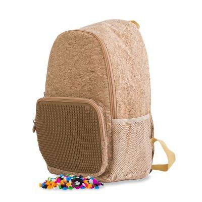Volnočasový kreativní pixelový batoh hnědá/korek PXB-02-CORK