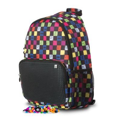 Volnočasový kreativní pixelový batoh multibarevná kostka/černá PXB-02-Y24