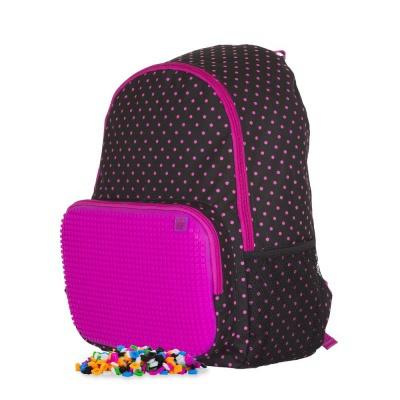 Voľnočasový kreatívny pixelový batoh čierno ružový PXB-02-L15