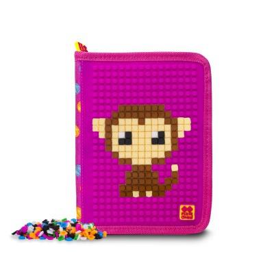 Kreatívny pixelový školský peračník farebné bodky/fuchsia PXA-04-G15