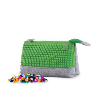 Kreativní pixelový školní penál šedo/zelená PXA-01-W07