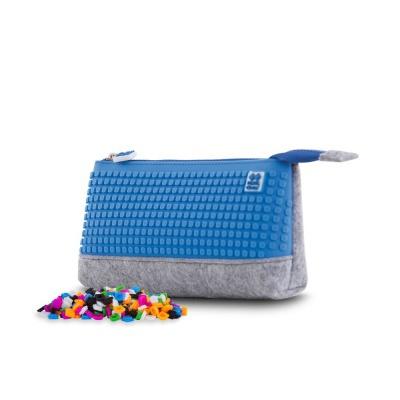 Kreativní pixelový školní penál šedo/modrá PXA-01-W10