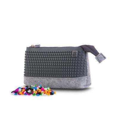Kreativní pixelový školní penál šedo/šedá PXA-01-W23