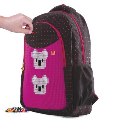 Školní kreativní pixelový batoh fuchsiová/černá PXB-16-L15