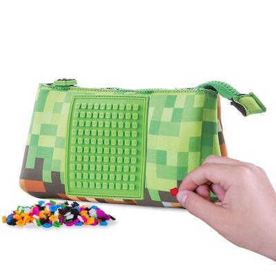Kreativní pixelový školní penál Minecraft zelená/hnědá PXA-02-83