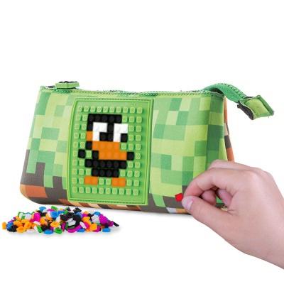 Kreatívny pixelový školský peračník zelená/hnedá PXA-02-83